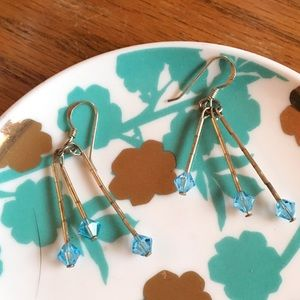 Sterling Silver Blue Bead Dangle Earrings